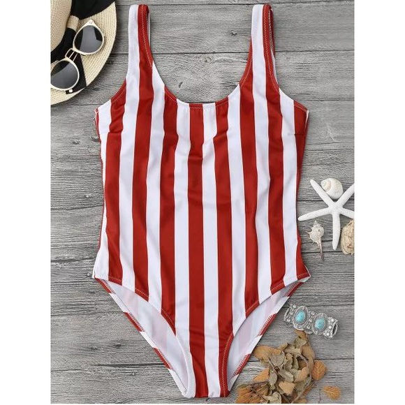 Zaful Red and White Scoop Back One-Piece Swimsuit